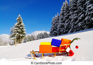 xmas - colorful presents on a Santa Claus sledge in a winter...