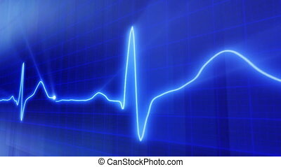 loop blue background EKG pulse - computer generated loopable...