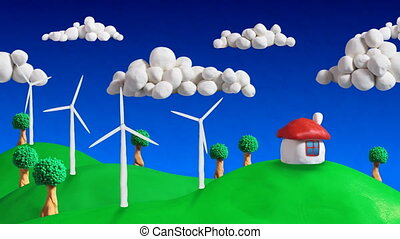 ecologic scene house wind turbines - seamless loop clay...