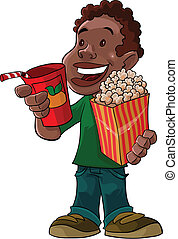 boy going to theather - this boy is with beverage and...