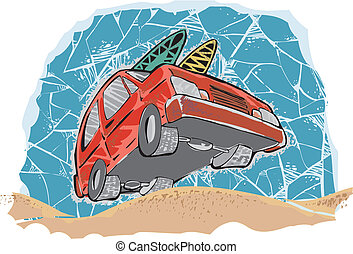 car going to beach - red car going to beach with two surf...