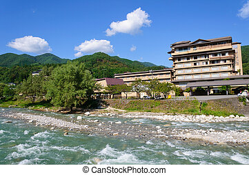 Achi village in Nagano, Japan - Hirugami Spa in Achi...