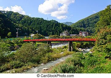 Achi village in Nagano, Japan - Hirugami Spa in Achi...
