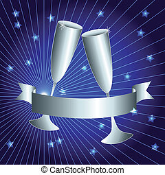 Silver cups and ribbon banner - Silver celebration: toasting...