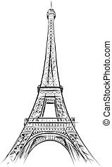 eiffel tower on the white