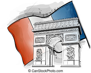 arch of triumph on the flag