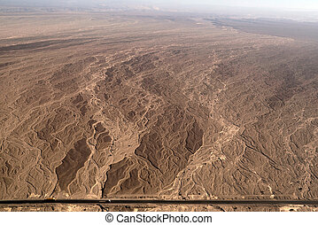 Nazca lines - Dry river bed - aerial view - Flight over...
