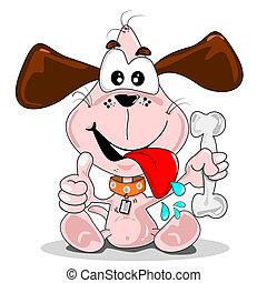 Cartoon dog with a bone - A cartoon drawing of a puppy dog...
