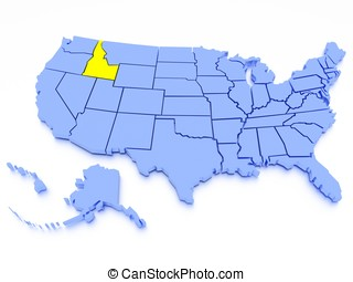 3D map of United States - State Idaho