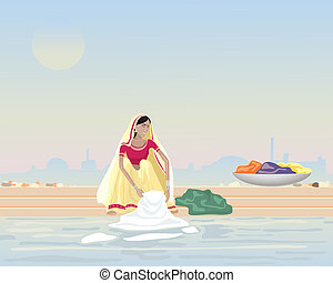 doing laundry - an illustration of an asian woman washing...