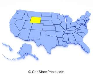 3D map of United States - State Wyoming