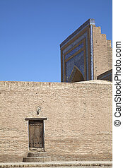 Uzbekistan, the wall of the mosque