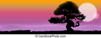 Soft landscape - Pastel landscape at sunrise with tree...