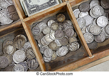 Vintage Coin Drawer - Vintage coins inside a old cash...