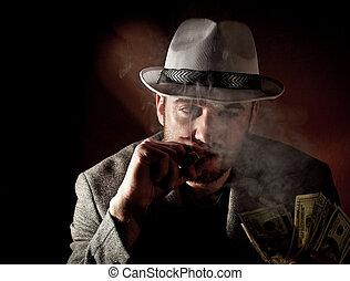 gangster portrait - fine portrait of caucasian gangster