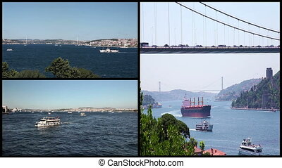 sea traffic on the bosphorus - montage sea traffic, shoot...