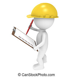 Quality Control - 3D little human character The Builder...