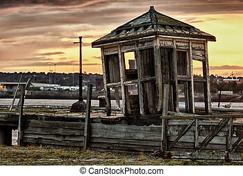 Old abandoned shack by Mersey