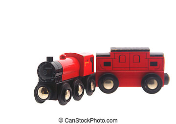 wooden toy train & carriage - isolated toy train and...