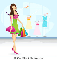 Shopping Lady - illustration of lady with shopping bag in...