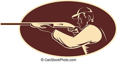 hunter shooting aiming shotgun rifle