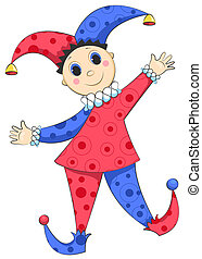Harlequin isolated. - Cartoon harlequin isolated on white....