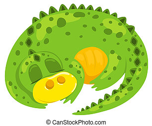 Small cartoon dragon sleep Vector illustration Isolated on...