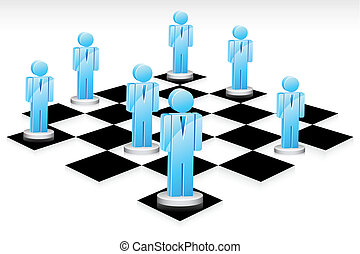 Business Game - illustration of human icon standing on chess...