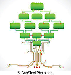 Technological Tree - illustration of tree made of chip and...