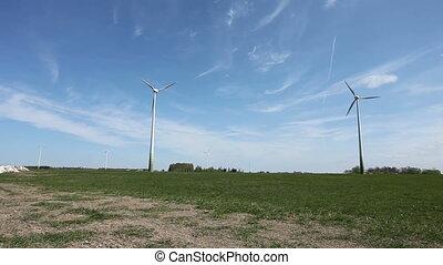 Wind turbine farm - Wind turbines farm generating...