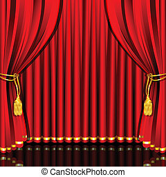 Stage Curtain - illustration of red stage curtain drape tied...