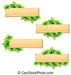 Leafy Background - illustration of set of arrangement with...
