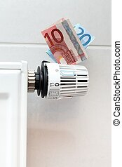 Expensive heating - Concept of expensive heating with money...
