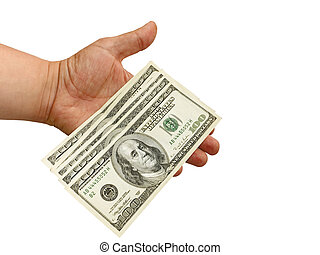 Hand with dollars - Mens hand holding US dollars, the image...