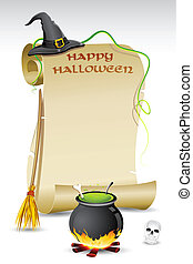 Halloween Card - illustration of witch hat and boling pot...