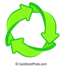 Eco sign - Circle of three green arrows, recycling symbol