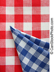 red white blue chequered fabric