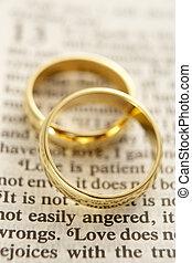 dos, boda, anillos, Descansar, en, Un, biblia, página