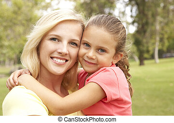 Daughter Hugging Mother In Park
