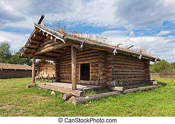 Ancient traditional russian wooden house X century