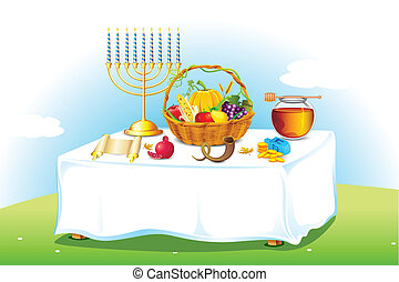Table decorated for Sukkot - illustration of table decorated...