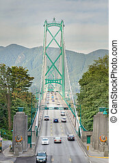 Lions Gate Bridge Entrance in Vancouver BC Canada