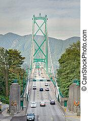 Lions Gate Bridge Entrance in Vancouver BC