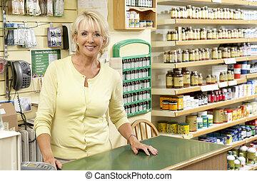 alimento, ayudante, ventas, salud, hembra, Tienda