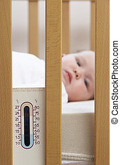 Newborn Baby In Cot With Thermometer