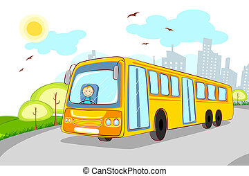 Driver in School Bus - illustration of driver in school bus...