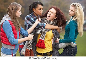 Grupo, de, femininas, adolescentes, intimide, menina