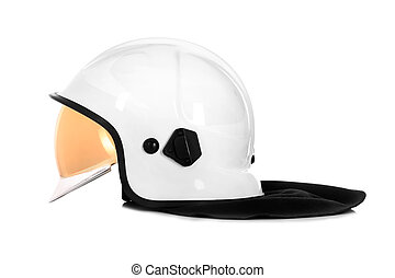 White helmet - A picture of a white fire fighter helmet over...