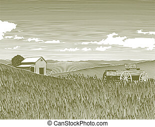 Woodcut Vintage Farm - Woodcut style illustration of a farm