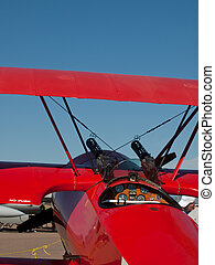 Vintage Aircraft - Old red biplane at the Rocky Mountain...